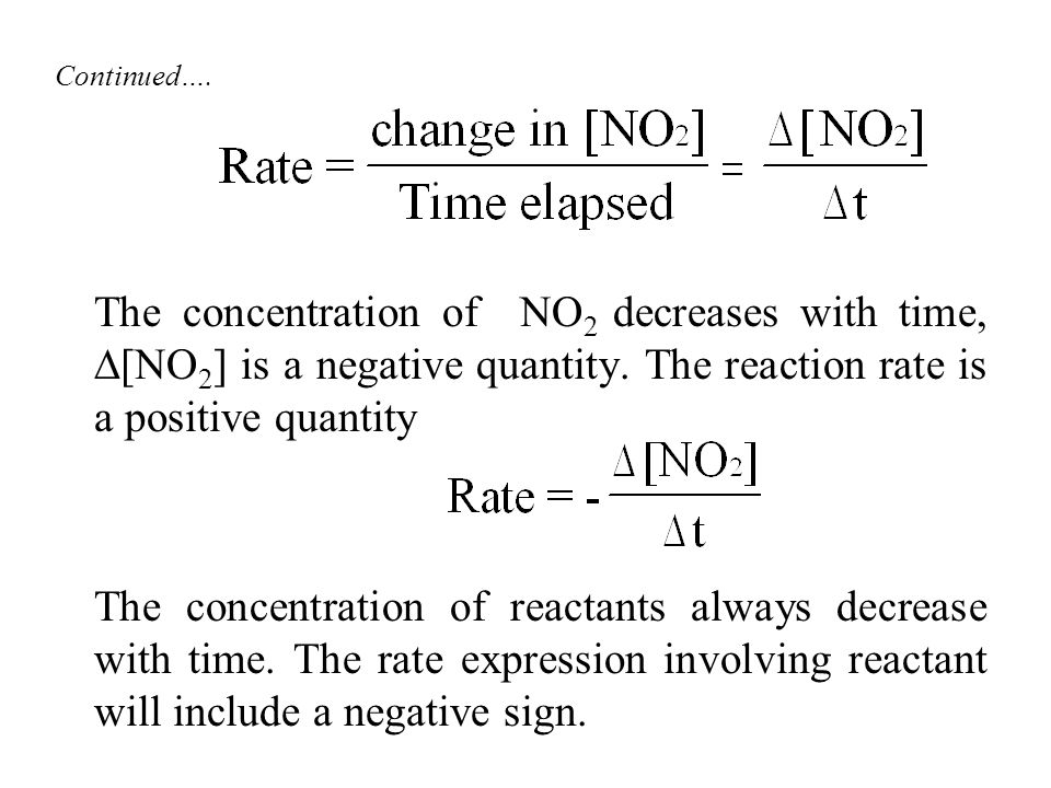 Continued…. The concentration of NO2 decreases with time, [NO2] is a negative quantity. The reaction rate is a positive quantity.